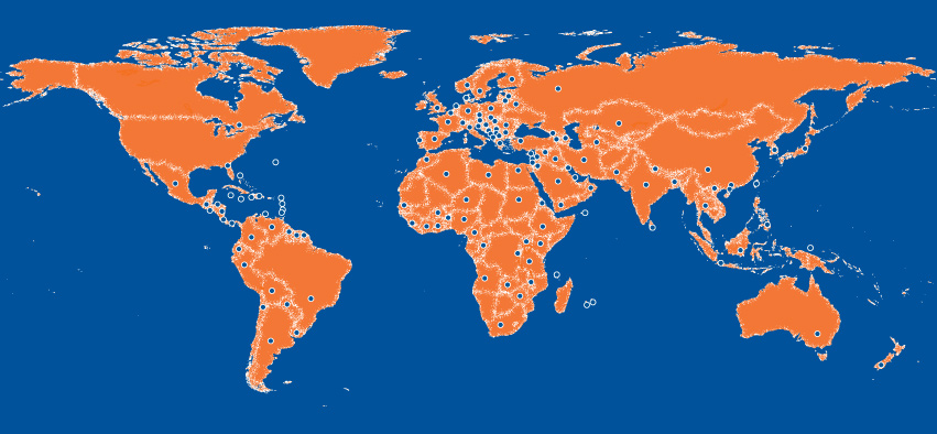 Map of countries represented by current students in 2014 (data via UFIC Open Doors Report)